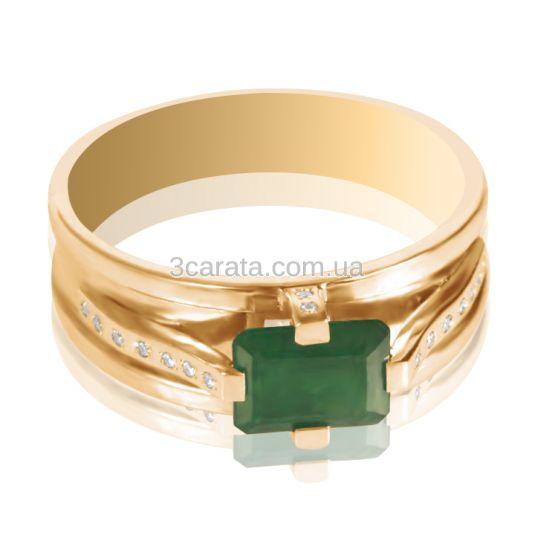 Золотий чоловічий перстень зі смарагдом та діамантами