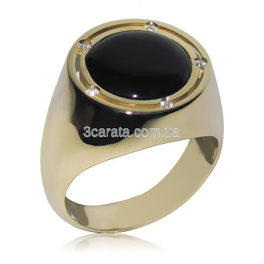 Золотий чоловічий перстень з оніксом «Гендальф» c6be124af32b1