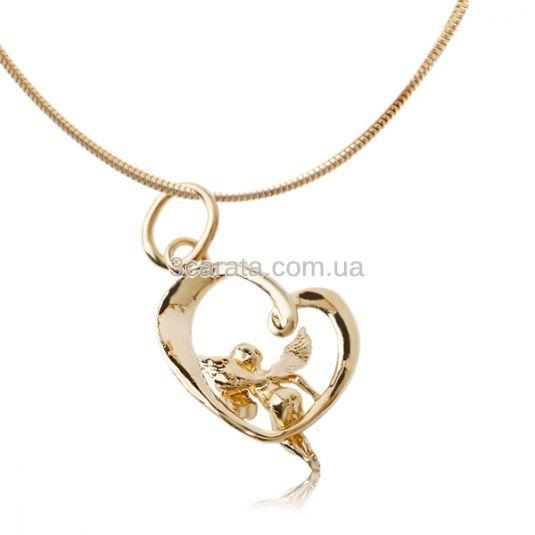 Золота подвіска з діамантом «Янгол й серце»