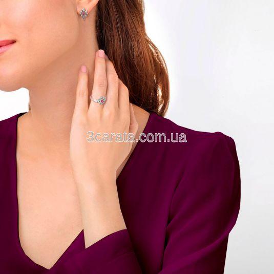 Золоті сережки з рубіном і Swarovski «Сяйво зірок»