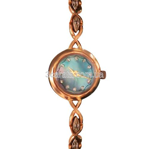 Золотий годинник жіночий з фіанітамі «Lady Time»