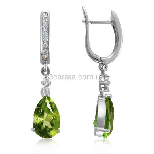 Ексклюзивні сережки-підвіски з хризолітами «Magnifica donna»