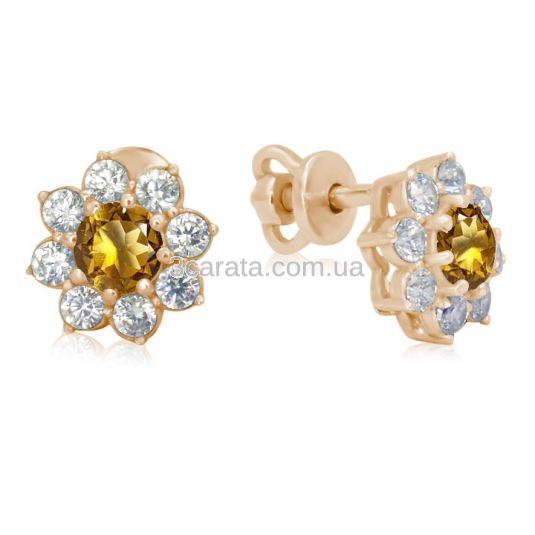Золоті сережки квітка з цитрином «Bloom»