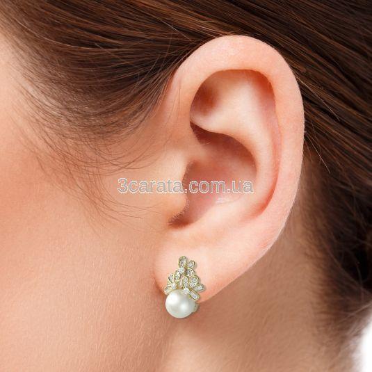 Сережки з морськими перлами та діамантами «Марина»