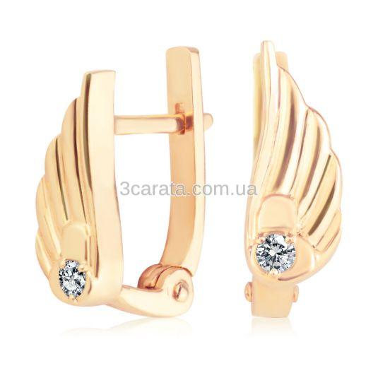 Сережки крила на англійській застібці зі діамантами «Layla»