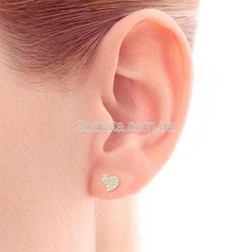 Маленькі сережки гвоздики з діамантами «Золоті сердечка»