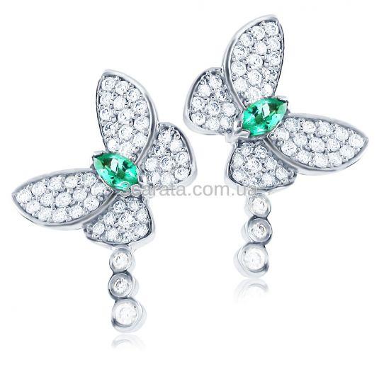Сережки пусети з смарагдом «Райські метелики» в золоті купити d49e9ebcdd66a