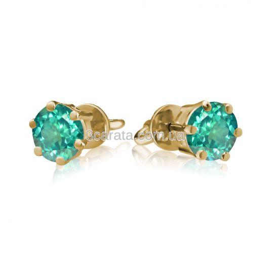 Золоті сережки пусети з зеленими топазами «Мальді»