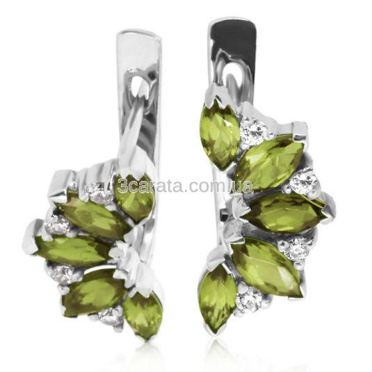 Золоті сережки з хризолітами і кристалами Сваровські «Кімберлi»