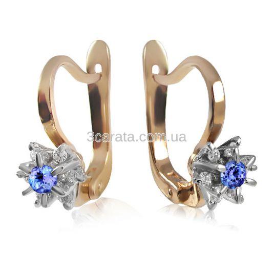 Золоті сережки з танзанітом і діамантами «Франсуаза»