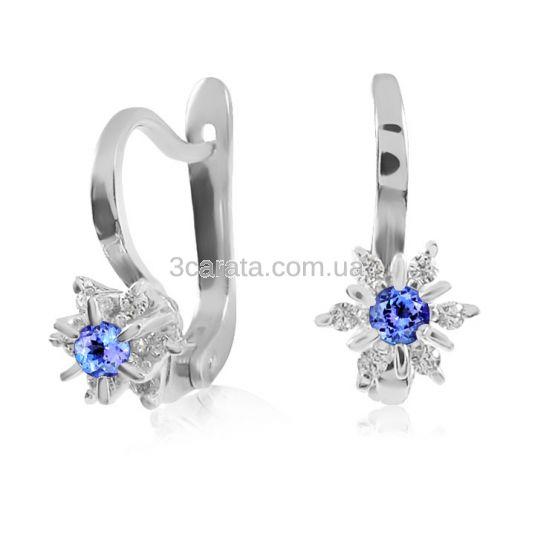 Золоті сережки з танзанитом і діамантами «Франсуаза»