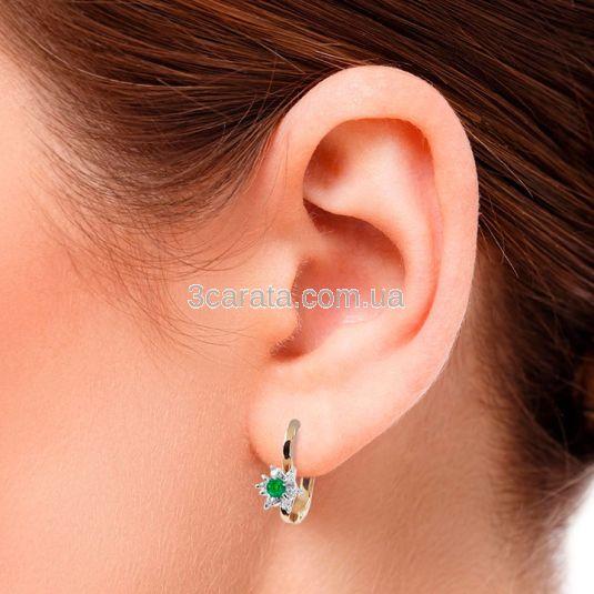 Сережки з зеленим гранатом і діамантами «Франсуаза»