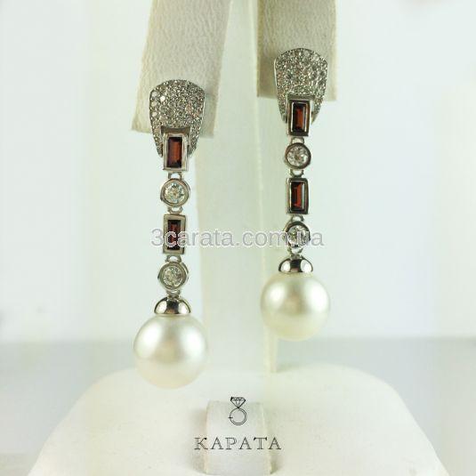 Довгі сережки підвіски з перлинами та гранатами «Sirena»