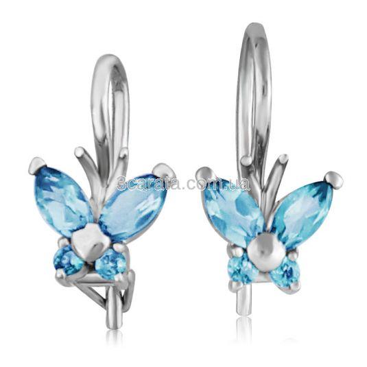Золоті сережки метелики з топазами «Little Miss»