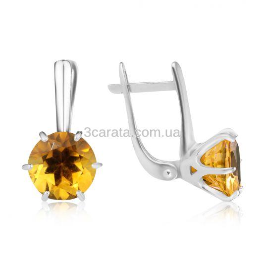 Золоті сережки великими цитринами «My Tiffany»