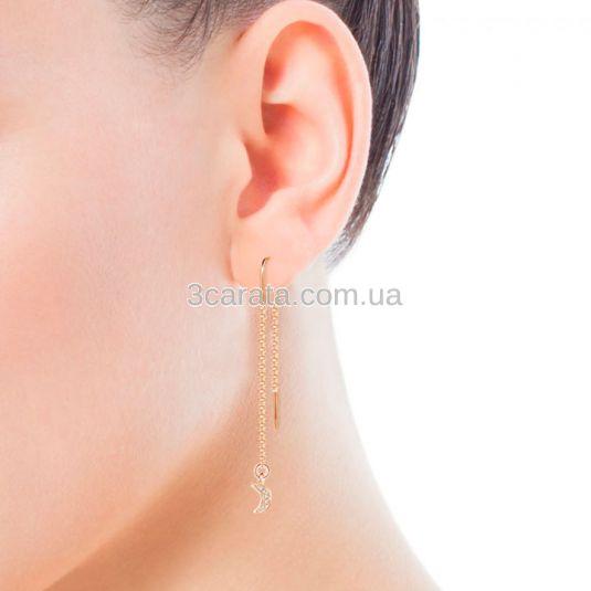 Довгі сережки ланцюжки з діамантами «Зірка і місяць»
