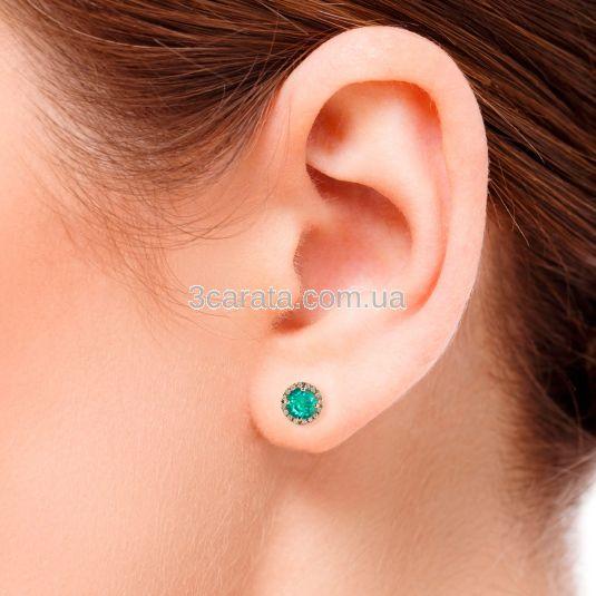 Круглі сережки з зеленим топазом «Олівія»