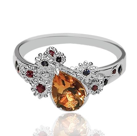 Золотое кольцо с рубинами, сапфирами и цитрином «Звездная ночь»