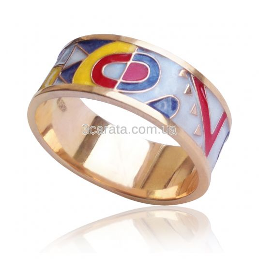 Золотое кольцо с эмалью «Небесные грани»