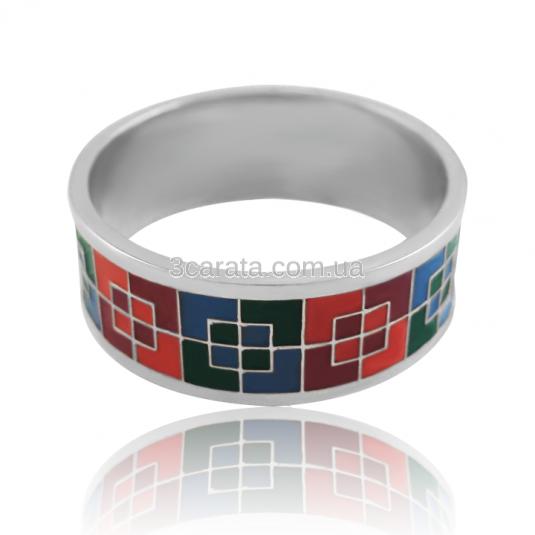 Золотое кольцо с эмалью «Квадратики»