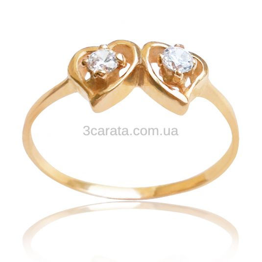 Золотое кольцо с цирконами «Навсегда вместе»