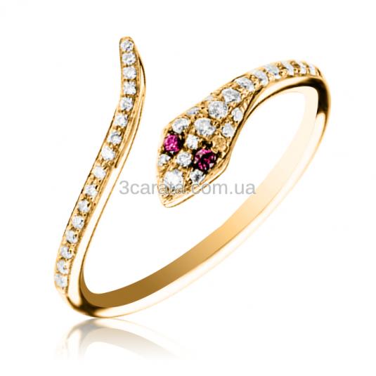 Женское золотое кольцо Колетта из золота в виде змеи с куб.цирконием 4e397aed37605