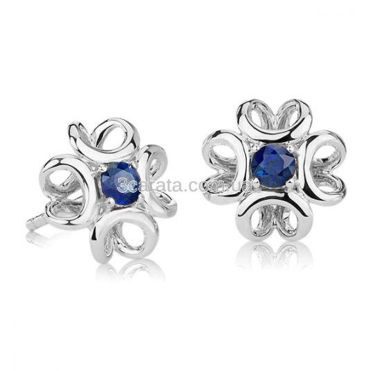Золотые сережки пусеты с синими сапфирами «Luxe»