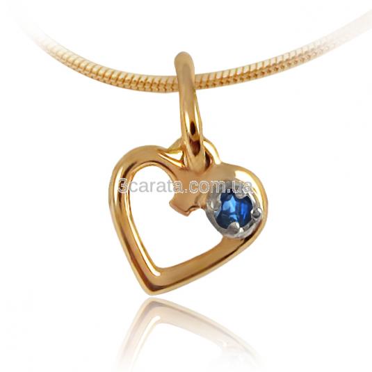 Золотой кулон сердце с сапфиром  «День Святого Валентина»