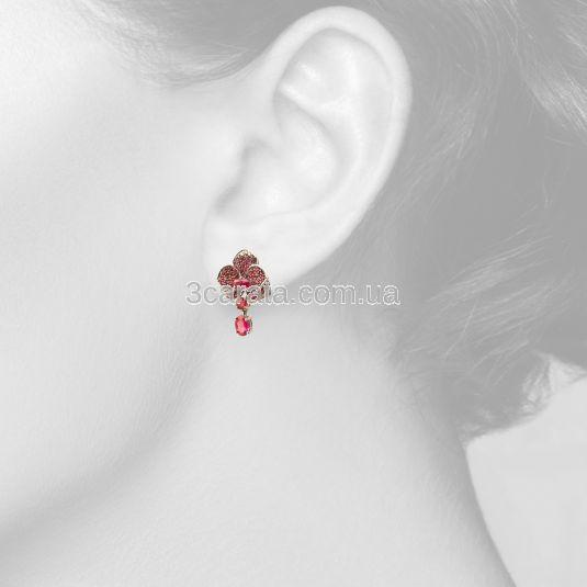 Эксклюзивные сережки с рубинами «Scarlet Rose»