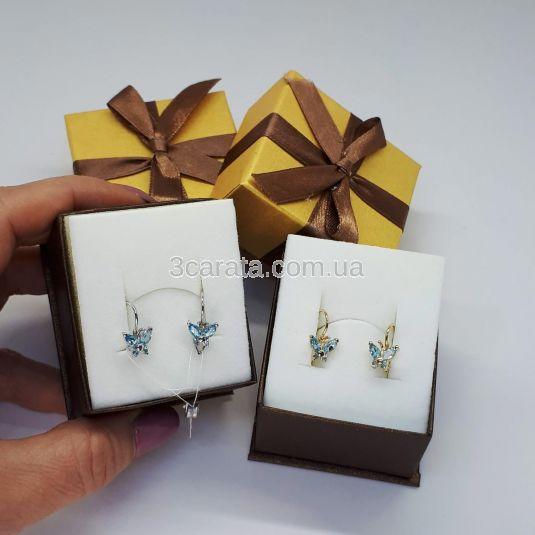 Золотые серьги бабочки с топазами «Little Miss»