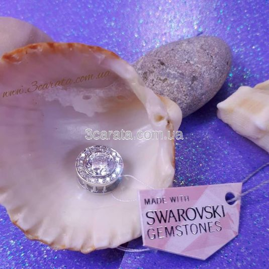 Золотое колье шайба с кристаллами Swarovski «Night»