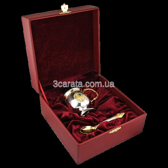 Чайно-кофейный набор из серебра с топазом и цирконием «Утренний аромат»