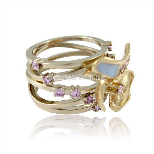 Кольцо из золота с аметистами и эмалью «Магнолия»
