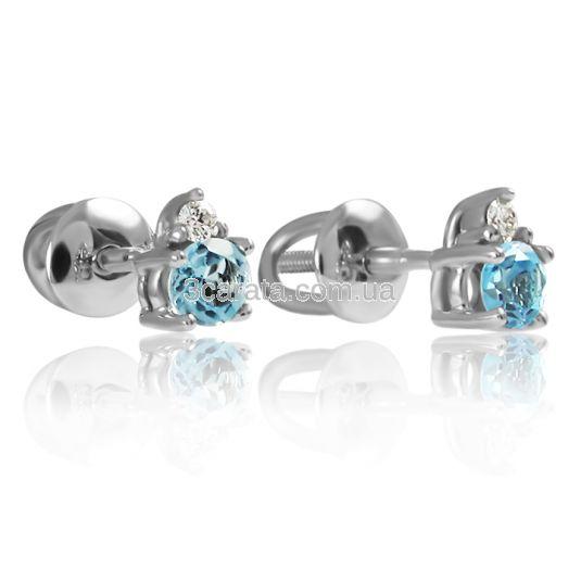 Золотые серьги-пусеты с топазом и бриллиантами «Эрида»
