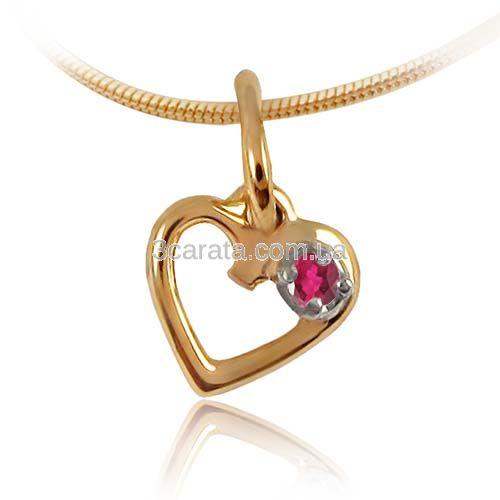 Золотой кулон сердце с рубином «День Святого Валентина»
