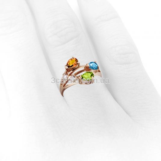 Золотое кольцо с самоцветами «Весеннее»