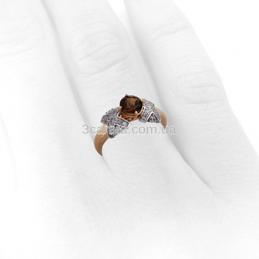 Золотое кольцо с раухтопазом и цирконием «Luxury»
