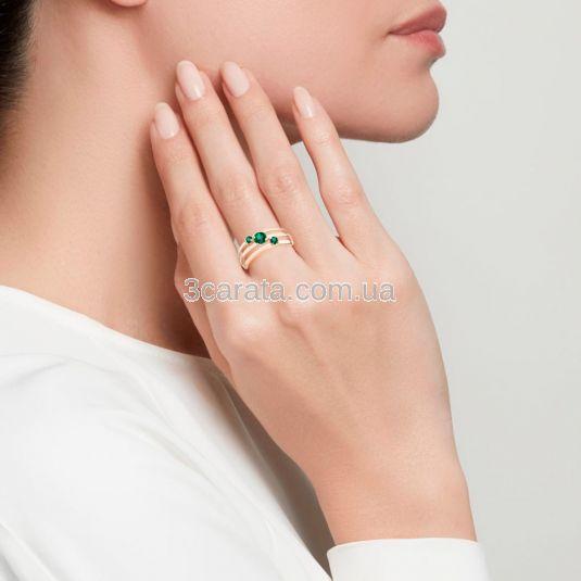 Широкое кольцо с тремя изумрудами «Emerald shine»