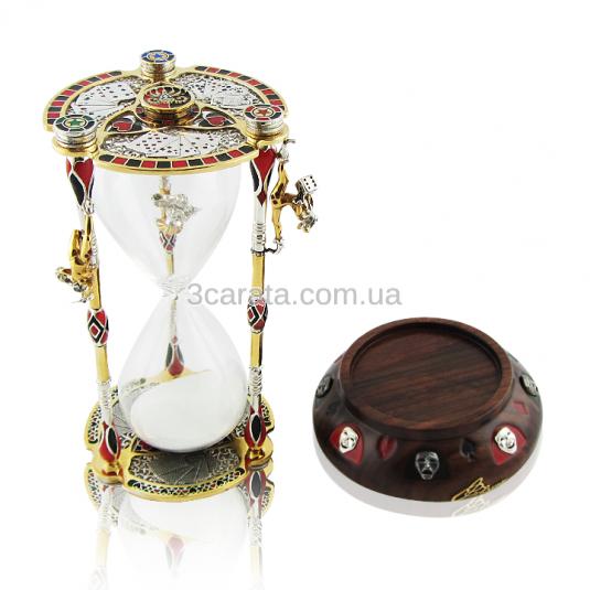 Серебряные песочные часы с эмалью