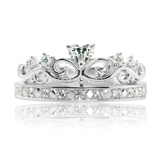 Золотое кольцо с куб.цирконием «Корона - Сердце»