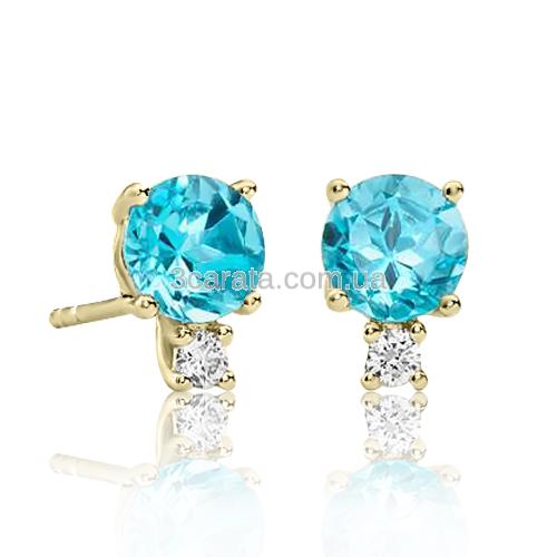 Золотые серьги с топазами и бриллиантами «Adeline»