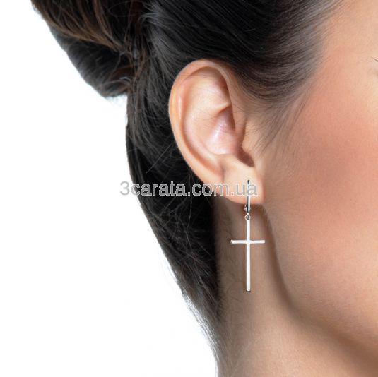 Золотые длинные серьги кресты «It-girl»