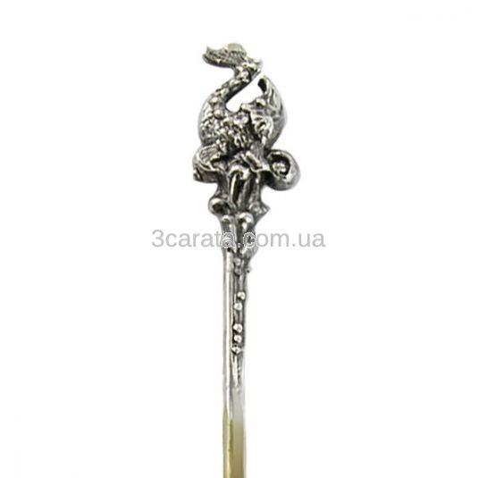 Серебряная ложка с позолотой «Осетр»