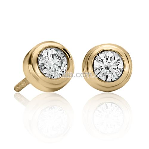 Золотые серьги с бриллиантом «Corrado»