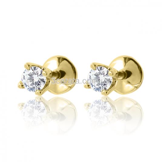 Золотые пусеты с бриллиантами «Жизель - 3»