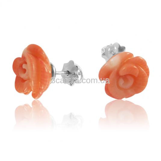 Золотые сережки «Коралловая роза»