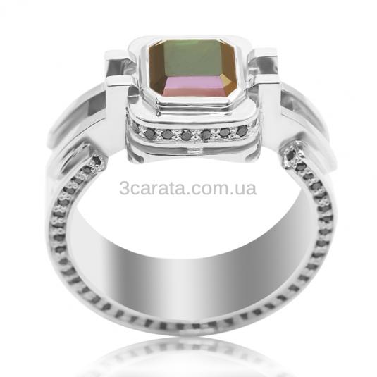 Перстень с турмалином белое золото