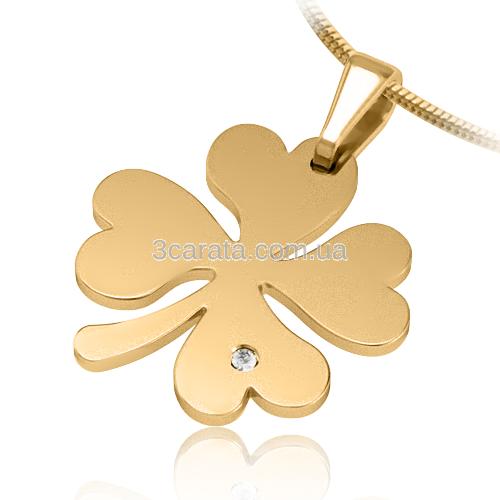 Золотой кулон с цирконием «Счастливый клевер»