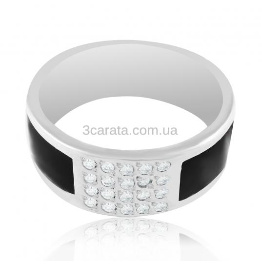 Золотое мужское кольцо с бриллиантами белое золото