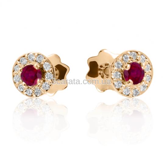 Золотые серьги-гвоздики с рубинами и бриллиантами